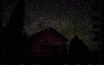 Cabin at night