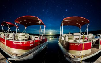 Pontoons at night time